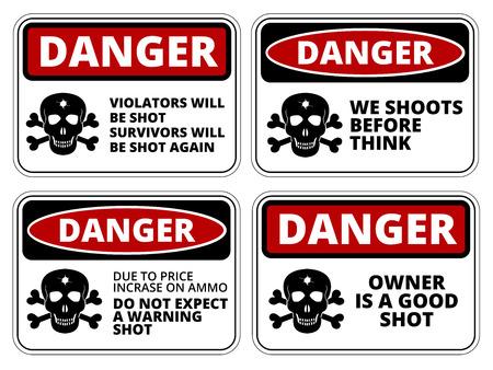 해학적 인: Danger sign - Beware of Owner. Humorous Comic Signs. Vector EPS8 set