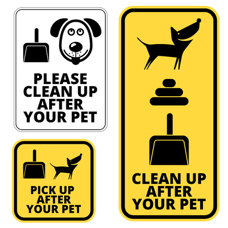 to clean up: Prohibition signs for dogs -  clean up after your pet. Vector EPS8 Illustration
