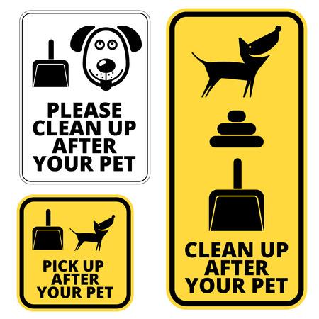 Verbotsschilder für Hunde - Aufräumarbeiten nach Ihrem Haustier. Vector EPS8