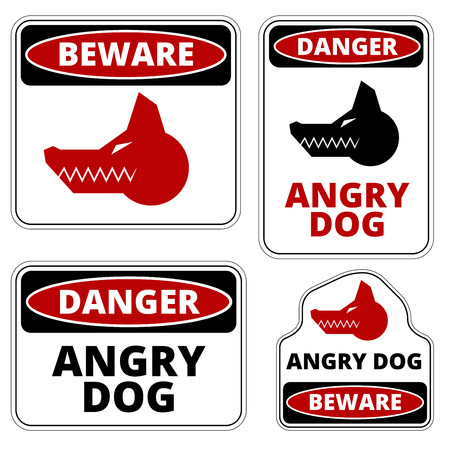 beware dog: Beware of dog and Angry Dog warning sign. Vector EPS8 set