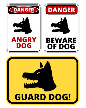 Beware of dog and Angry Dog warning sign. Vector EPS8 set