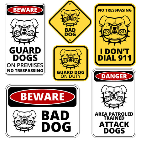 angry dog: Danger Dog Signs Labels Collection. Vector EPS8 set
