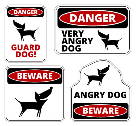 badger dog: Danger Dog Signs Humorous Comic Labels and Plates Collection. Vector EPS8 set