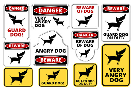 beware dog: Danger Dog Signs Humorous Comic Labels and Plates Collection. Vector EPS8 set