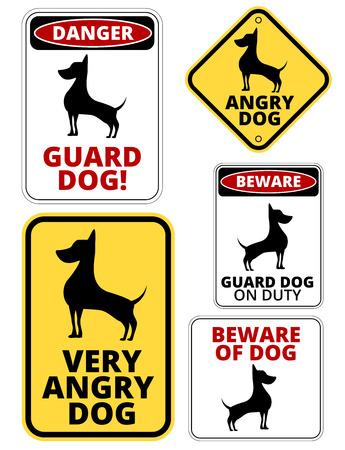 peligro: Se�ales de peligro del perro Etiquetas Comic chistosas y Placas Collection. Vector conjunto EPS8