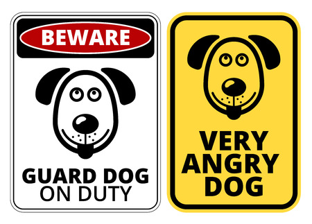 danger signs: Danger Dog Signs Humorous Comic Labels and Plates Collection. Vector EPS8 set