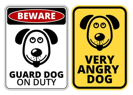 해학적 인: Danger Dog Signs Humorous Comic Labels and Plates Collection. Vector EPS8 set