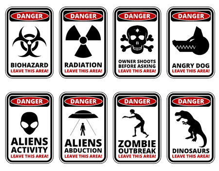 hazards: Vector warning humorous signs with sci-fi and rare hazards - vector set