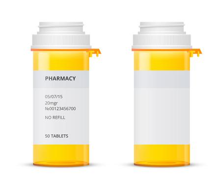 Bottiglia di pillola di prescrizione con le etichette modello, illustrazione vettoriale Archivio Fotografico - 43463131