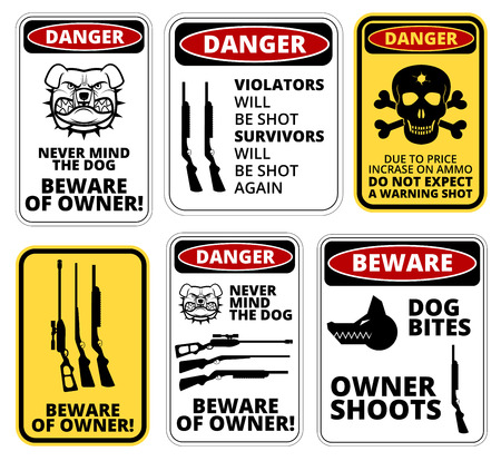 dangers: Owner shoots - humorous comic danger sign. Vector EPS8 Illustration