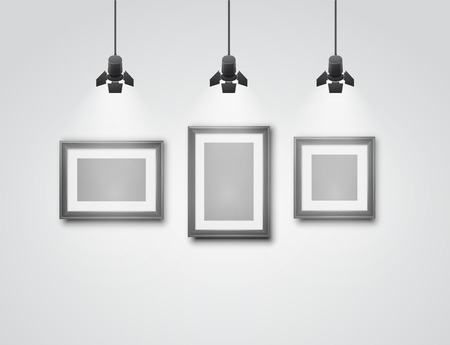 museum: Gallery room gray wall interior with blank frames illuminated with spotlights. Realistic 3d vector illustration Illustration