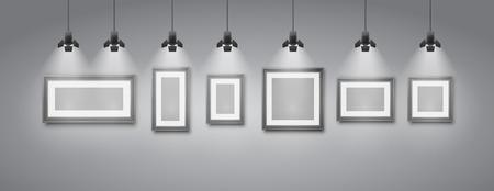 ギャラリー ルーム灰色の壁インテリアのスポット ライトで照らされた空白のフレームを持つ。リアルな 3 d ベクトル イラスト  イラスト・ベクター素材