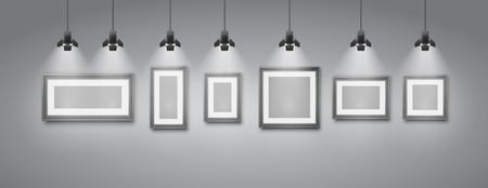 Gallery room gray wall interior with blank frames illuminated with spotlights. Realistic 3d vector illustration Stock Illustratie
