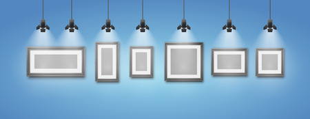 art museum: Blank blue studio wall and picture frame under light lamp   realistic vector illustrations