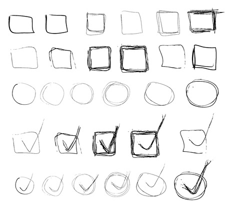 highlight: Set of black highlight circles, check marks, arrows, cross hand drawn elements. Vector EPS8 collection Illustration