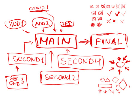 deletion: Hand-drawn infographics strategy scheme vector illustration Illustration