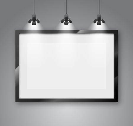 Gallery room gray wall interior with blank frame illuminated with spotlights. Realistic 3d vector illustration