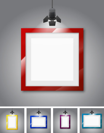spotlight lamp: Set of different colored frames gallery room gray wall interior illuminated with spotlights. Realistic 3d vector illustration