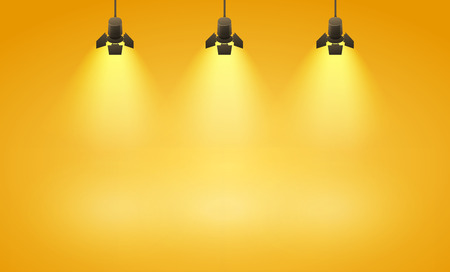 spotlight: Studio spotlight yellow background with lamps - vector EPS 10 illustration