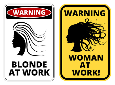 Blonde at work joke humorous Sign. Vector EPS 8 Set