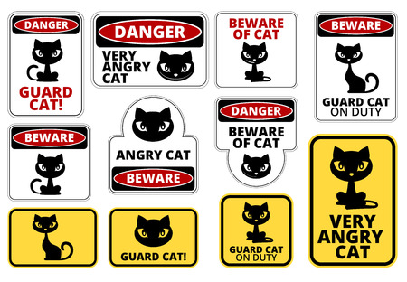 Beware Guard Cat Signs Humorous Comic Labels and Plates Collection. Vector EPS8 set