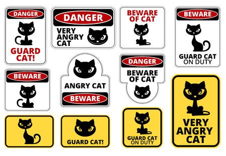 Hüten Sie sich vor Wache Katze Signs Humorvoll Comic Etiketten und Schilder Collection. Vector EPS8 Set