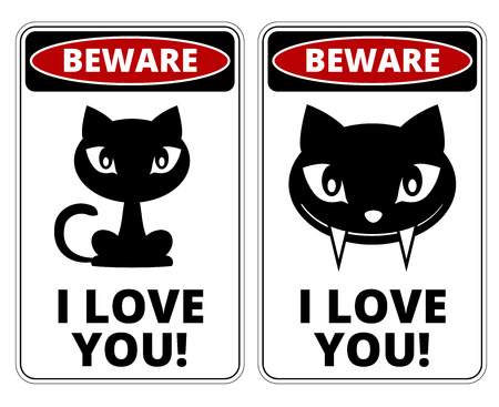 humorous: Beware lovely Cat Signs Humorous Comic Labels and Plates Collection. Vector EPS8 set
