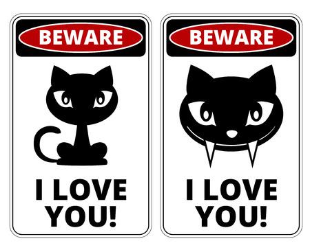 해학적 인: Beware lovely Cat Signs Humorous Comic Labels and Plates Collection. Vector EPS8 set
