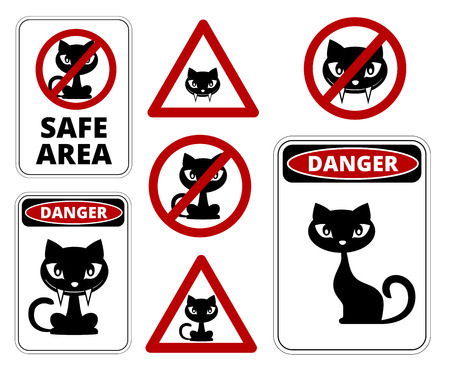 compulsory: No cats allowed, danger cats and other roadsign vector collection Illustration