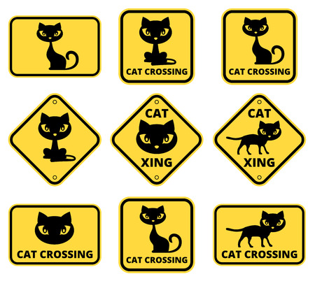 street symbols: Cat crossing the street - funny joke road sign. Vector EPS8 Illustration