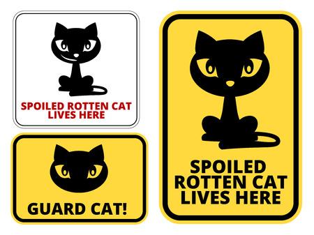 해학적 인: Guard  Cat Signs Humorous Comic Labels and Plates Collection. Vector EPS8 set 일러스트