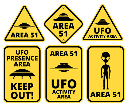 area 51: UFO, Aliens and Area 51 danger warning road signs vector collection