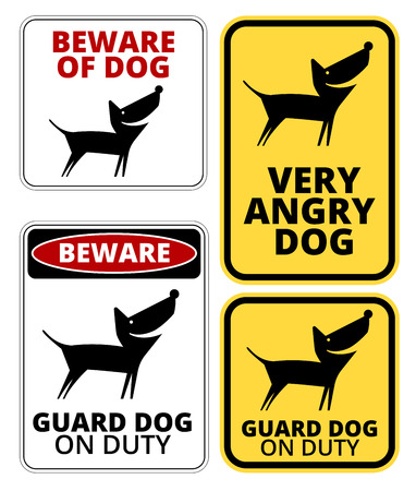 humorous: Danger Dog Signs Humorous Comic Labels and Plates Collection. Vector EPS8 set