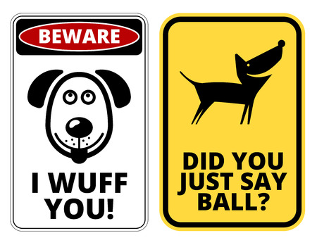 badger dog: Friendly Dogs  Signs Humorous Comic Labels and Plates Collection. Vector Illustration