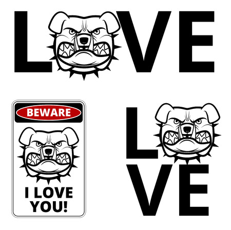 Friendly Dogs  Signs Humorous Comic Labels and Plates Collection. Vector Illustration