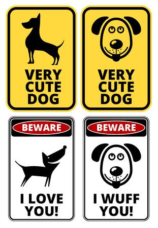 해학적 인: Danger Cute Dog Signs Humorous Comic Labels and Plates Collection. Vector EPS8 set