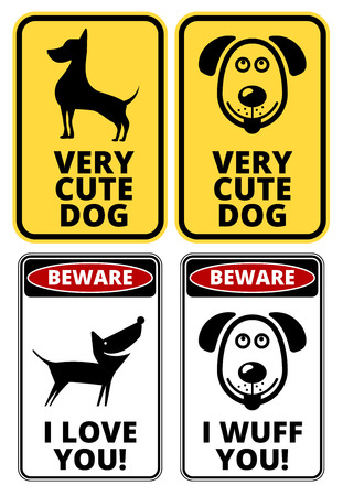 Danger Cute Dog Signs Humorous Comic Labels and Plates Collection. Vector EPS8 set