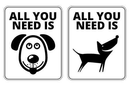 해학적 인: Friendly Dogs  Signs Humorous Comic Labels and Plates Collection. Vector Illustration