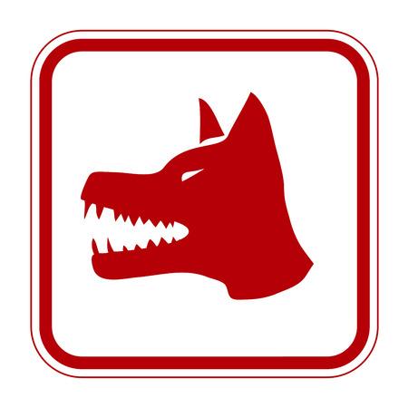 no trespassing: Angry Dog Red Danger Sign. Vector Illustration EPS8