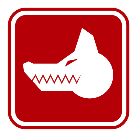angry dog: Angry Dog Red Danger Sign. Vector Illustration EPS8