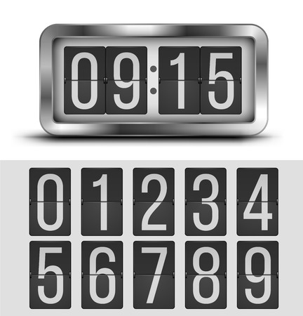 timer: Analog flip clock silver retro design with numbers template, vector illustration