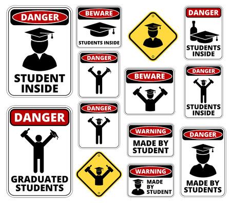 on all fours: Drunk student party funny joke danger signs set. Vector EPS8 Illustration