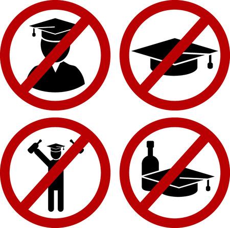 borracho: Estudiante restringido y signos broma divertida de peligro del partido borracho establecen. Vector EPS8