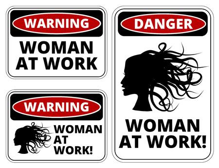 thoughtless: Blonde at work joke humorous Sign. Vector EPS 8 Set