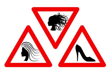 해학적 인: Woman inside Car joke humorous Sign. Vector EPS 8 Set