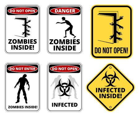 Conjunto de signo Zombie outbrake dentro del área de cuarentena edificio de riesgo biológico. Ilustración vectorial