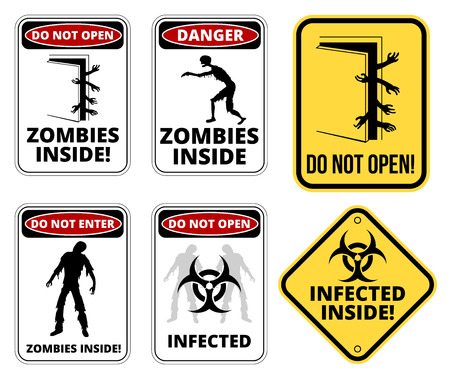 Set of sign Zombie outbrake inside building biohazard quarantine area. Vector illustration