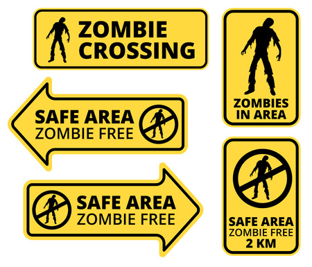 Zombie   Apocalypse Safe area Signs, Symbols and Billboards Vector eps8