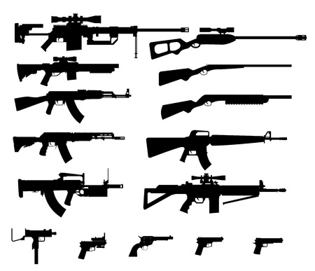 gun barrel: Gun shapes black icon vector set with rifles and pistol