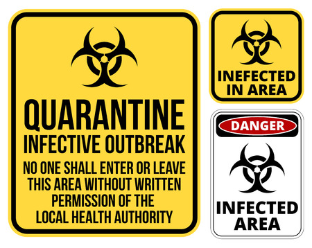 advertencia: Conjunto de área de cuarentena señal de peligro biológico. Ilustración vectorial Vectores